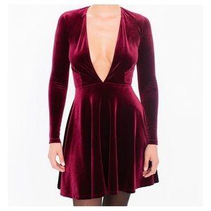 [American Apparel] NWT Velvet Deep V-Neck Dress